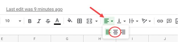 Click on the Center align icon