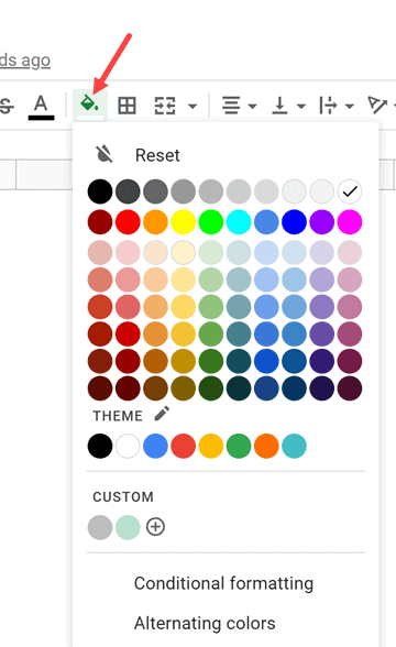 Click on the fill color icon
