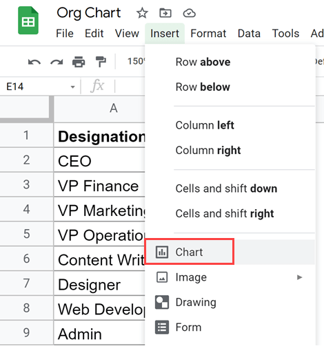 Click the Chart option