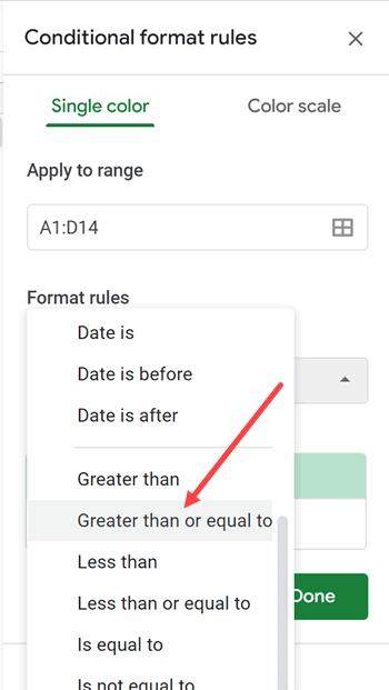 Select the Greater than or equal to