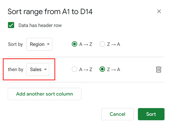 Then sort by sales