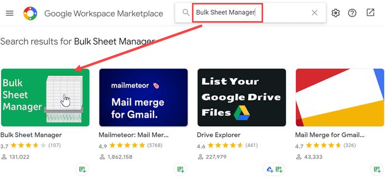 Click on Bulk Sheet manager