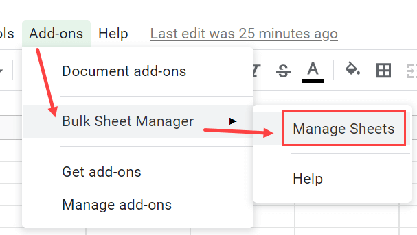 Click on Manage Sheets