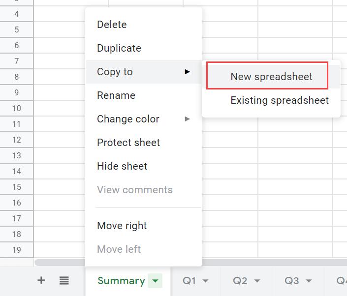 Click on New Spreadsheet