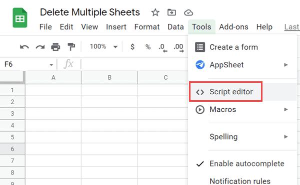 Click on Script Editor