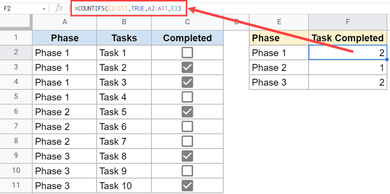 Count checkboxes based on condition