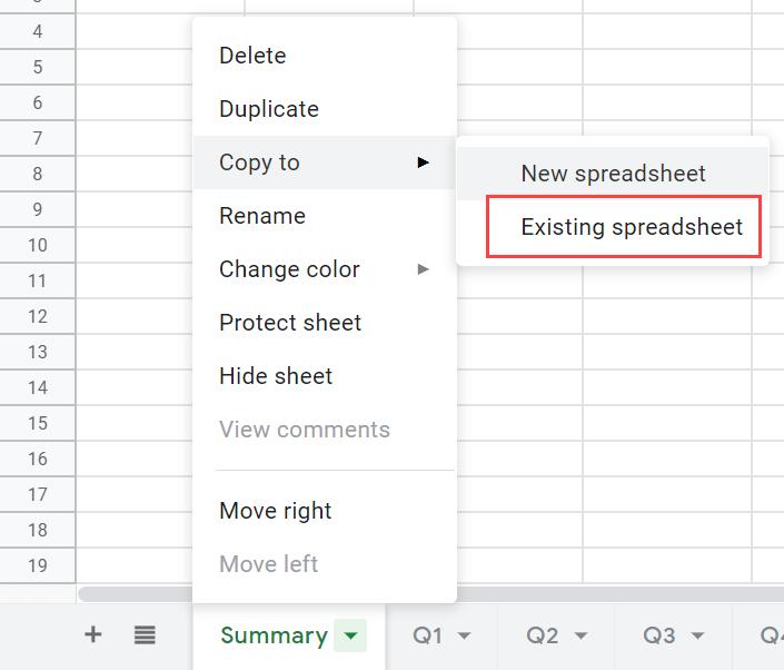 Existing Spreadsheet Option