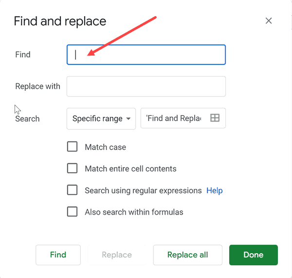 Enter double spaces in find what field