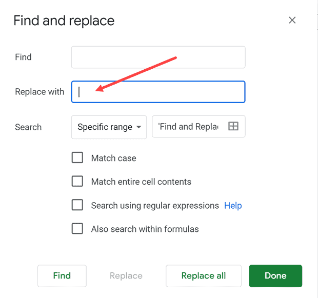 Enter single spaces in replace with field