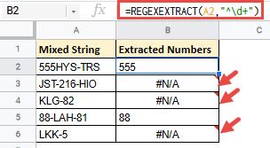 the REGEXEXTRACT function returns an error.