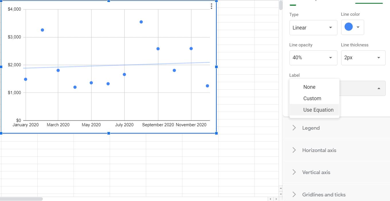 find a slope on google sheets