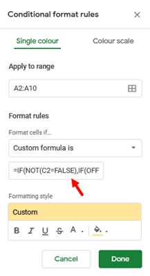 start applying conditional formatting