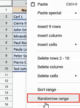 random sort google sheets
