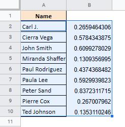 How to Randomize a List in Google Sheets (Shuffle Data)