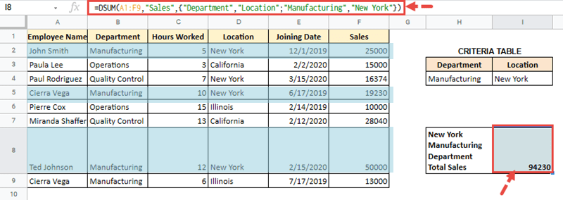 how to use dsum in excel