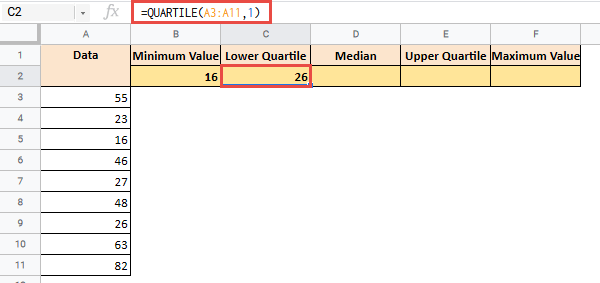how to make a box plot in google sheets