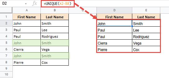 Using Google Sheets UNIQUE Function to Find Unique Values in Multiple Columns