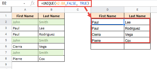Using UNIQUE Function in Google Sheets to Filter Data by Unique Values