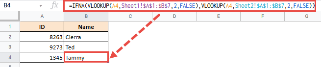IFNA Function in Google Sheets