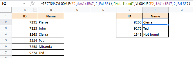 To handle errors, the ISNA function needs to be nested in an IF or IFS function