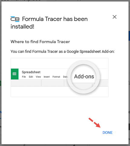 'Formula Tracer has been installed'.
