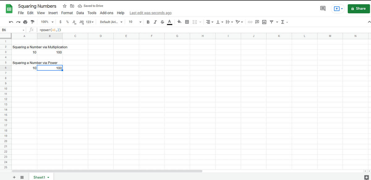 squaring a number via power in google sheets