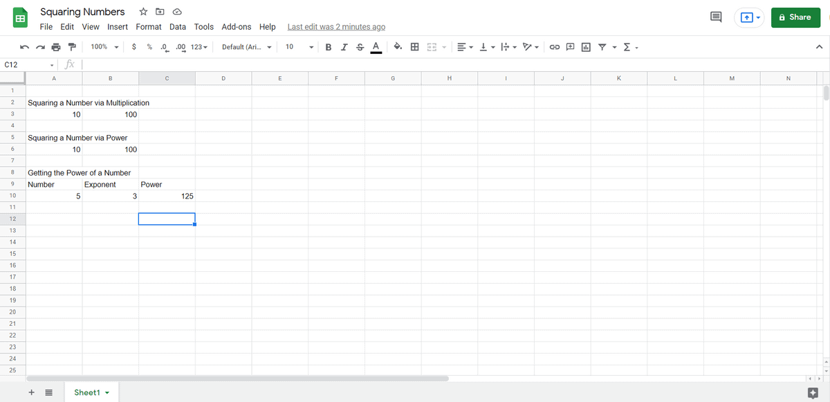 How To Square In Google Sheets