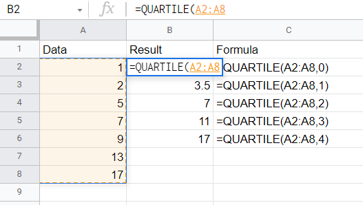 Click and drag over the desired dataset or manually type in the array.