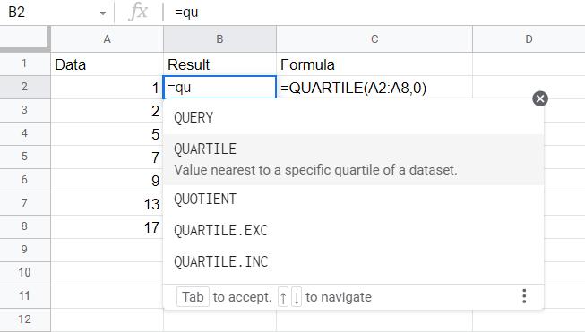 Type =qu then click on the quartile function