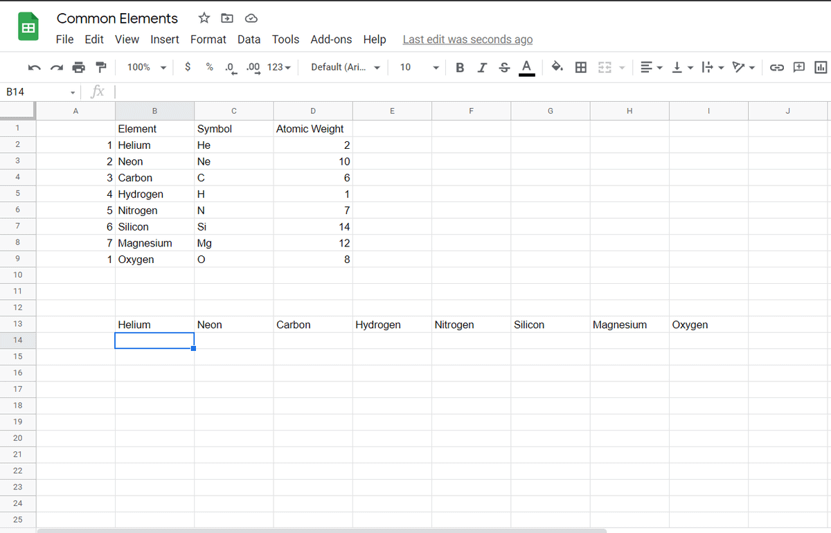 data switched from column to a row