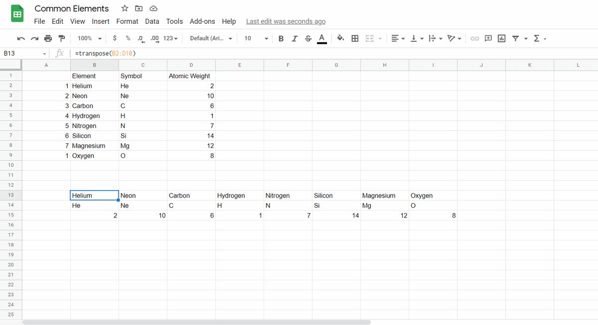 data transposed google sheets