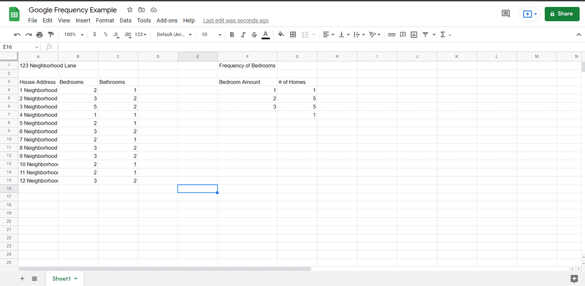 google sheets frequency function example