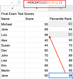 When you click on each cell, the formula appears in the top bar